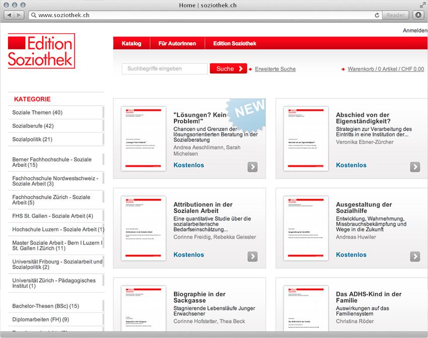 Screenshot der Magento-Lösung soziothek.ch - 2