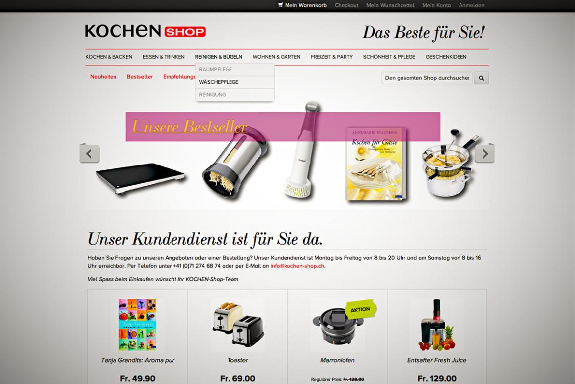 der neue kochen-shop.ch auf Magento mit MS NAV ERP-Anbindung (Navision)