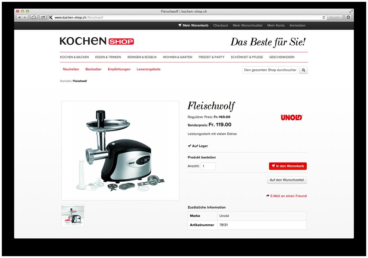 Beispielseite des neuen auf Magento basierenden Webshops kochen-shop.ch mit Navision ERP-Anbindung