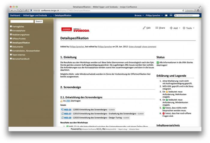 Confluence, Beispielseite einer Kunden-Detailspezifikation - Confluence, Beispielseite einer Kunden-Detailspezifikation