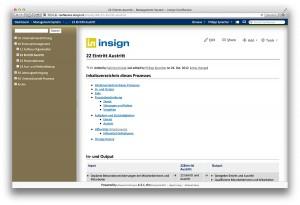 Confluence, Seite aus dem insign Management System