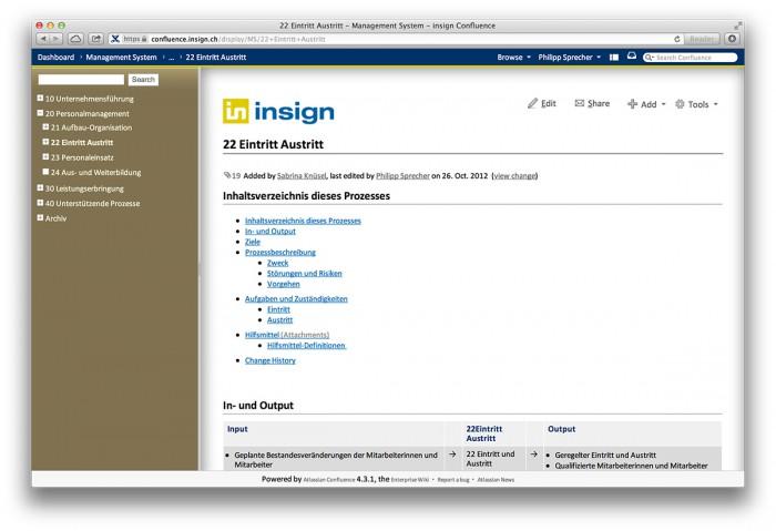 Confluence, Seite aus dem insign Management System - Confluence, Seite aus dem insign Management System