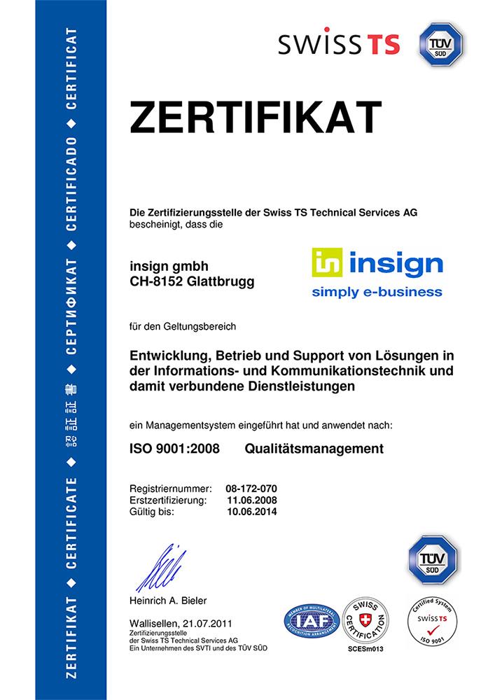 insign ISO 9001-Zertifikat