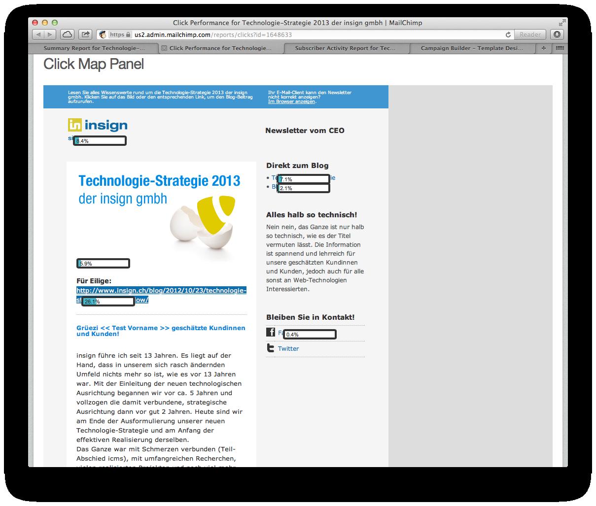 MailChimp - Anzeige der Click-Performance direkt im Newsletter