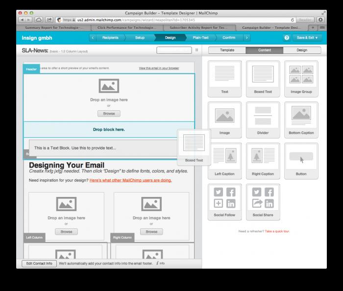 MailChimp - Drag-and-drop-Editor zur schnellen Erstellung eines Newsletters - MailChimp - Drag-and-drop-Editor zur schnellen Erstellung eines Newsletters
