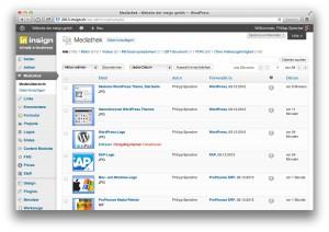 WordPress, Mediathek im Backend