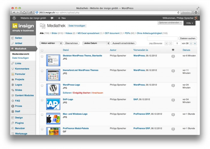 WordPress, Mediathek im Backend - WordPress, Mediathek im Backend