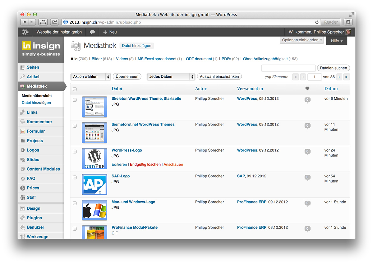 WordPress, Mediathek im Backend