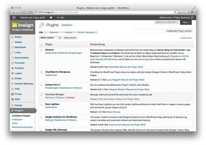 WordPress, Plug-in-Übersicht im Backend - WordPress, Plug-in-Übersicht im Backend
