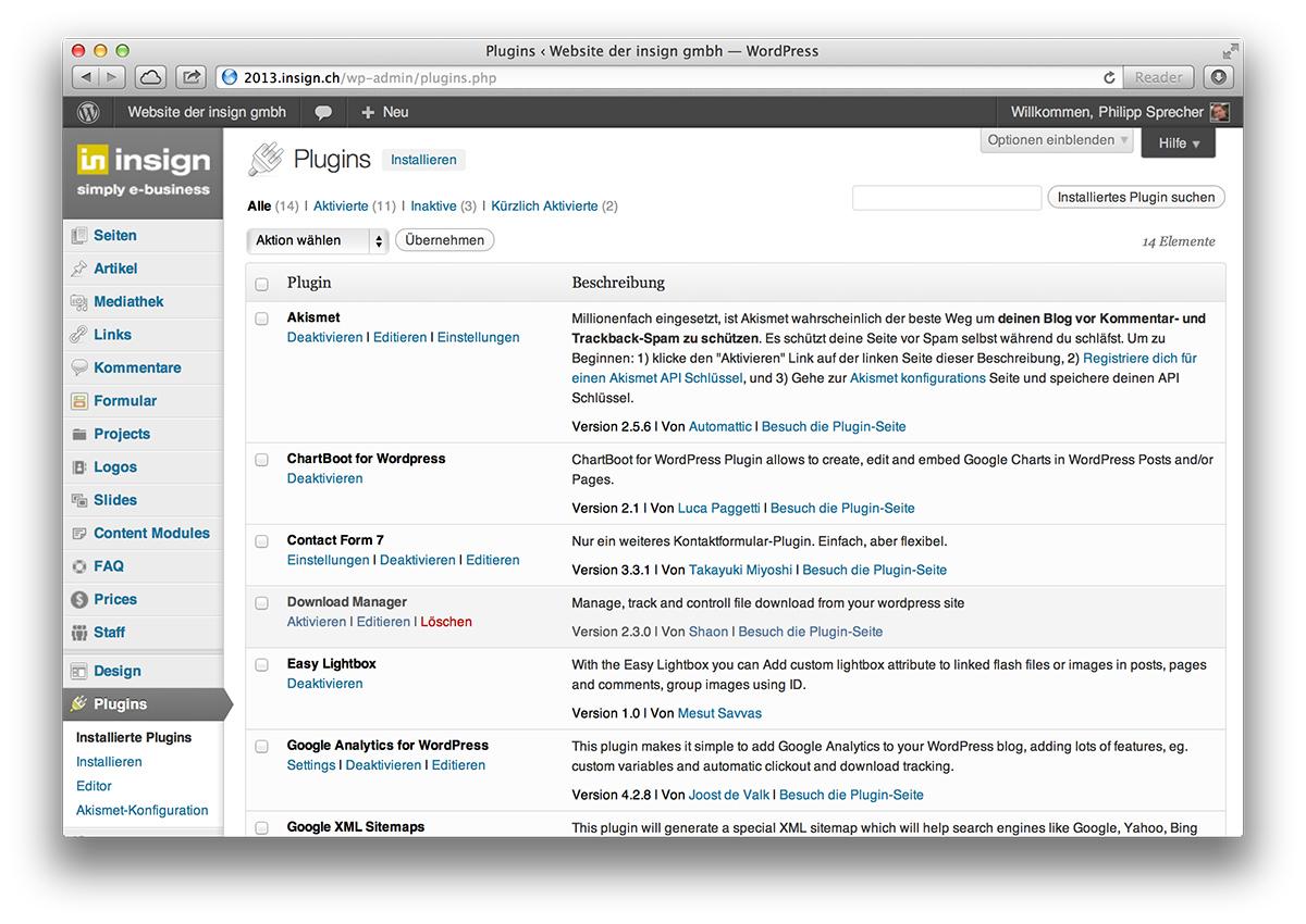 WordPress, Plug-in-Übersicht im Backend