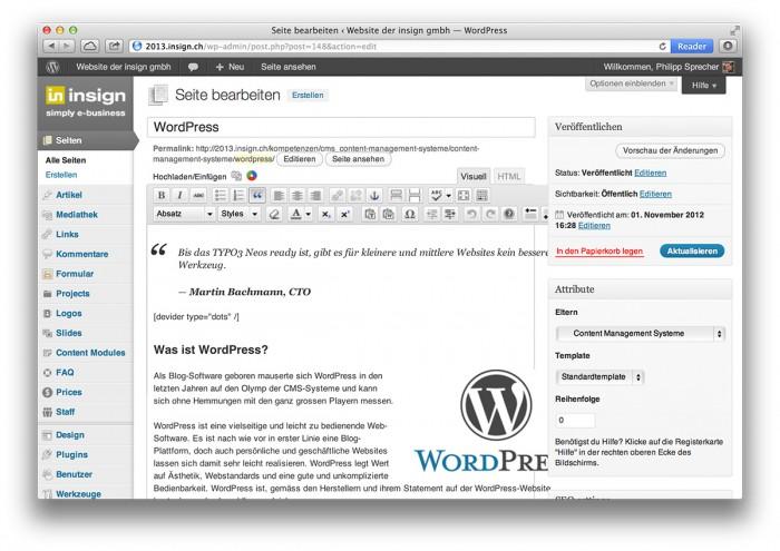 WordPress, eine Seite bearbeiten, Backend - WordPress, eine Seite bearbeiten, Backend