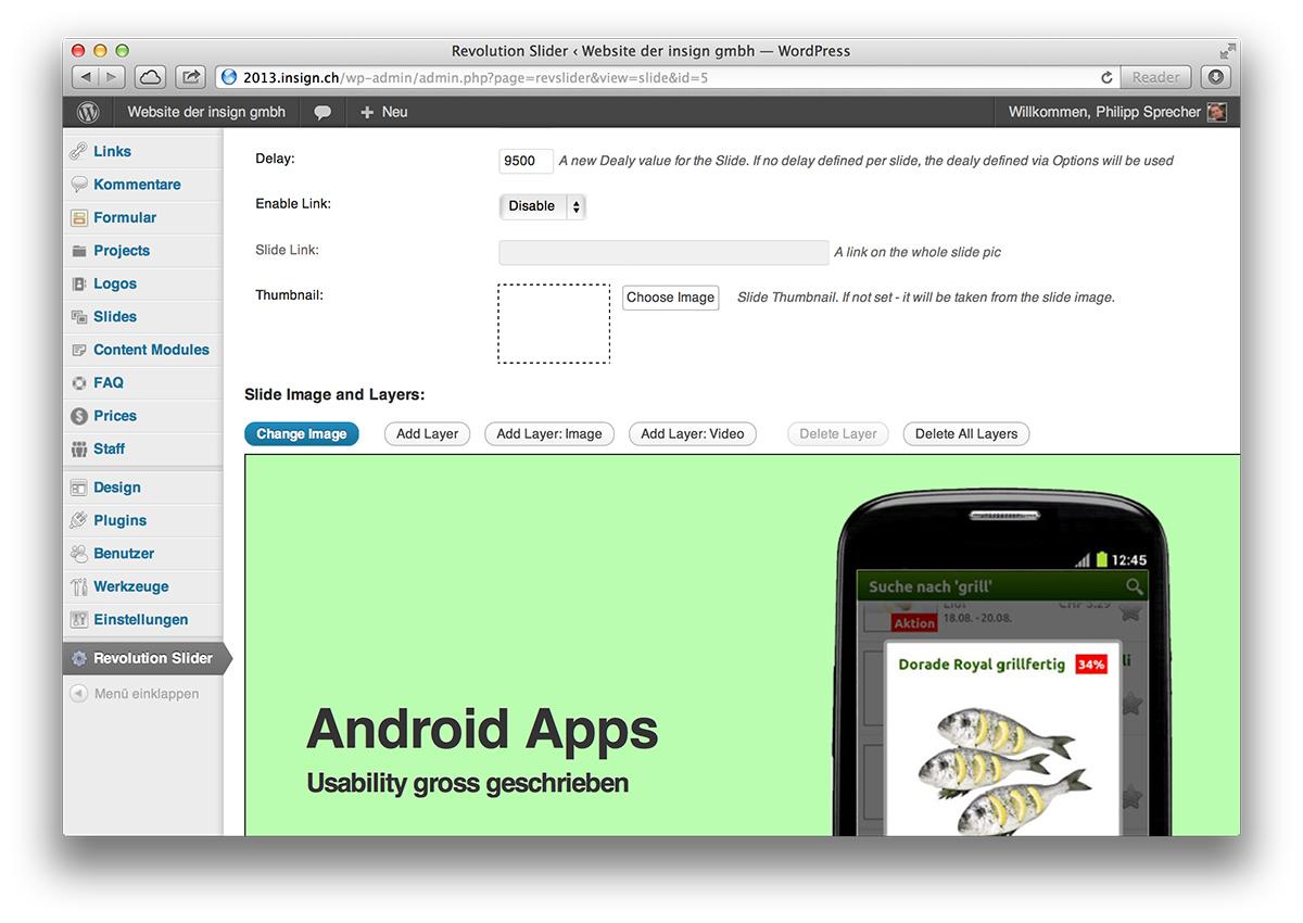 WordPress, Slider-Extension im Backend