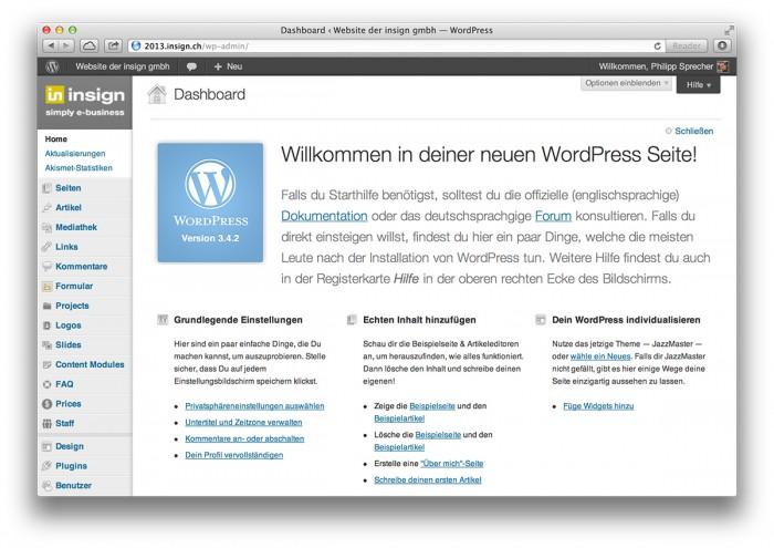 WordPress, Startseite Backend - WordPress, Startseite Backend