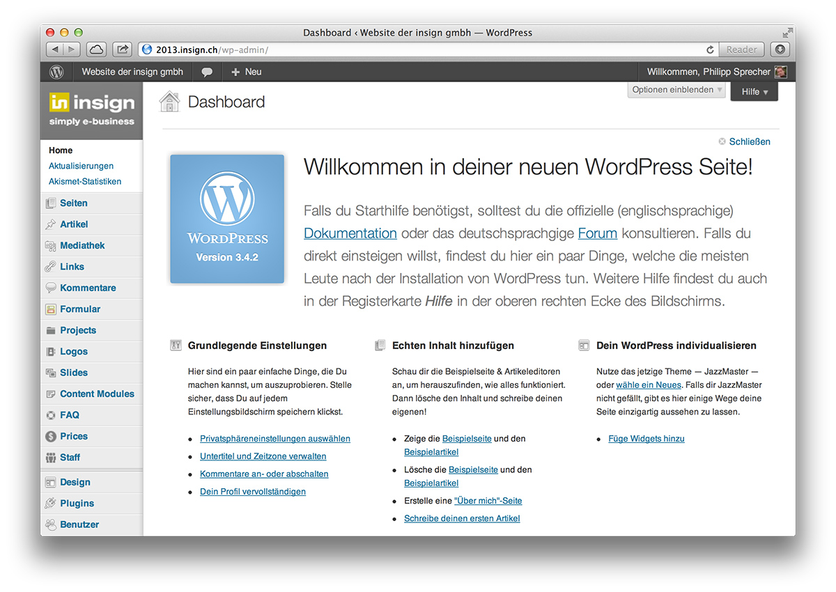 WordPress, Startseite Backend