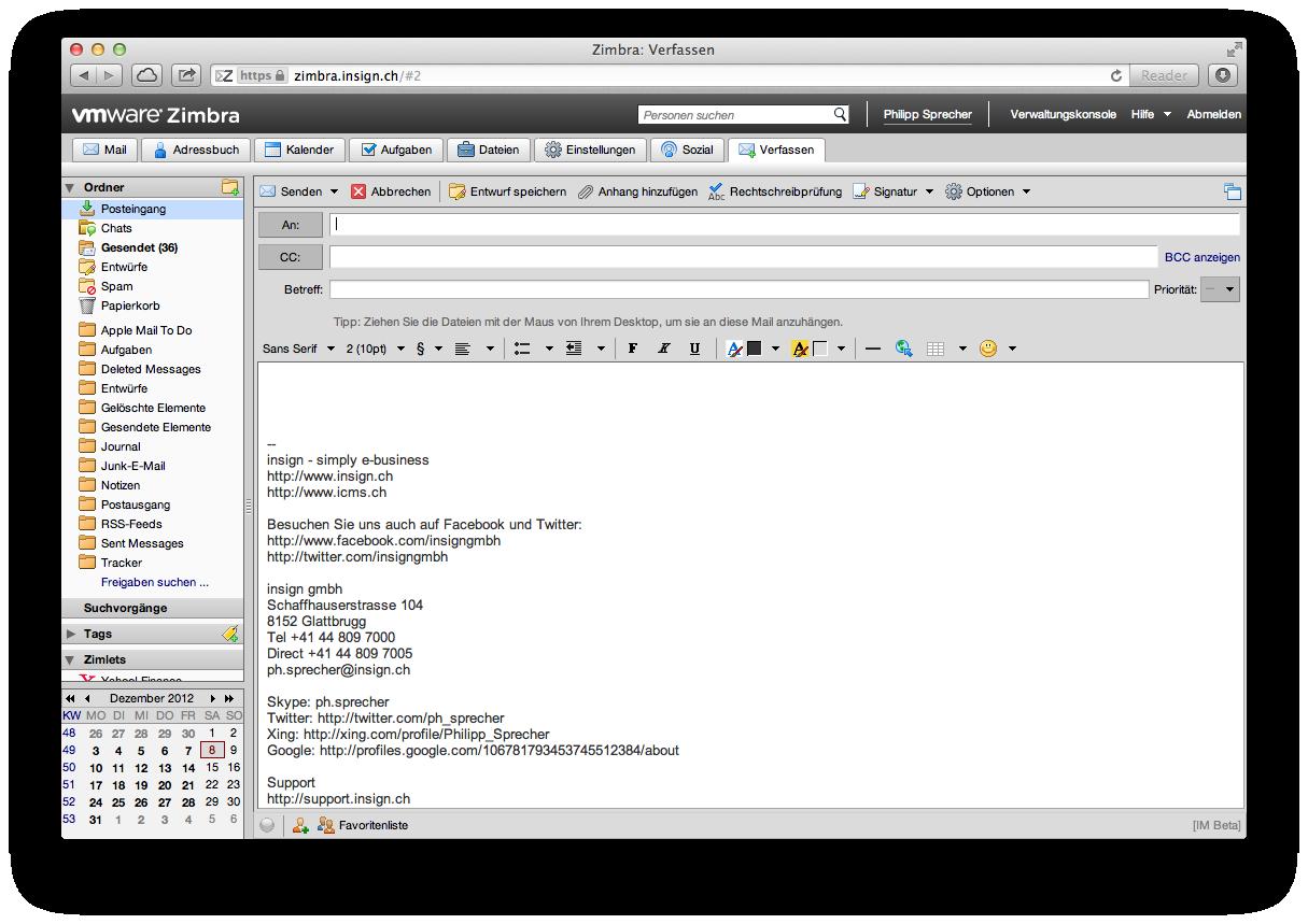 E-Mail erfassen in Zimbra