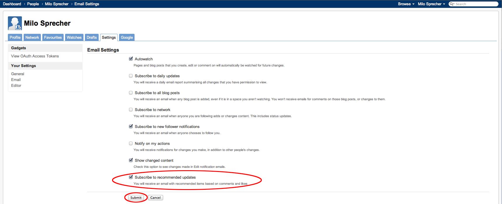 Recommended Updates-Einstellungen, Schritt 3/3