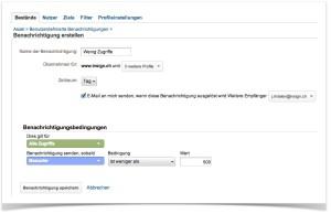 Google Analytics-Einstellungen, Benachrichtigungen