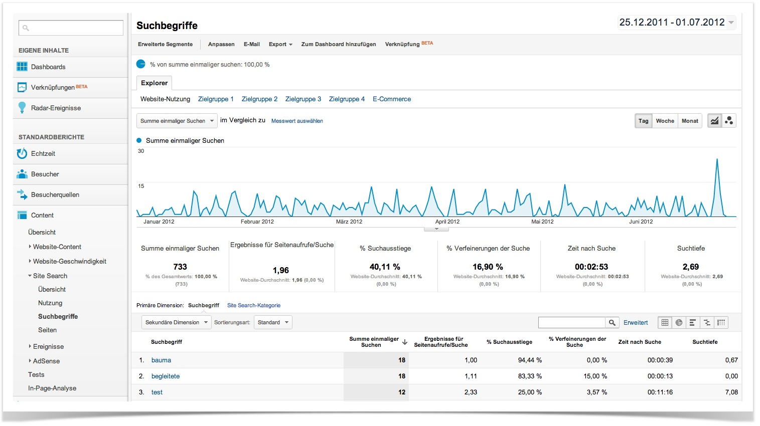 Google Analytics-Einstellungen, 3