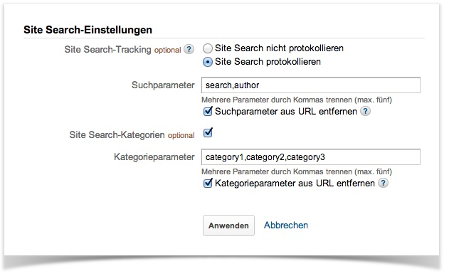 Google Analytics-Einstellungen, 2