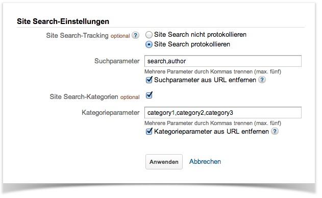Google Analytics-Einstellungen, 2