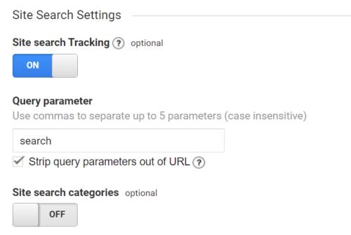 Empfohlene Analytics Site Search Einstellungen