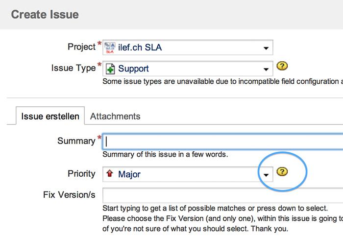 Link (Icon) zu den JIRA-Prioritäten