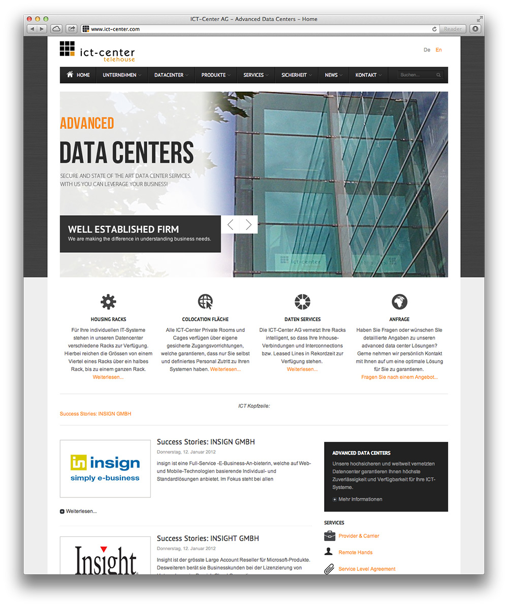 Screenshot der ict-center.com-Startseite