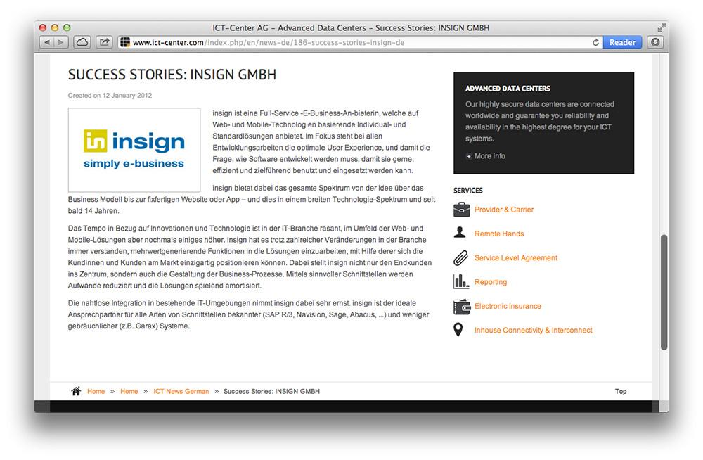 Screenshot der ict-center.com-Detailseite