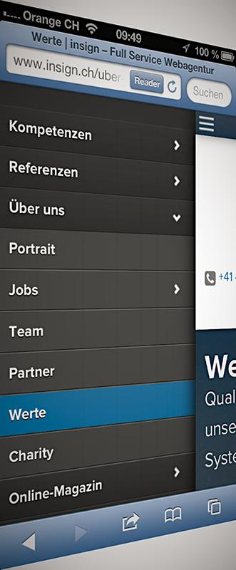 new insign mobile navigation