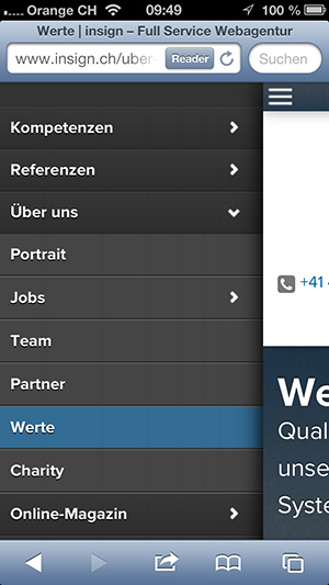 new insign mobile navigation, 5