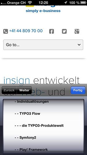 alte insign-Navigation auf einem Smartphone, 2