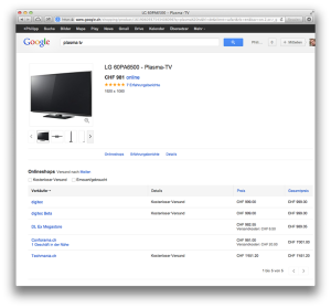 Google Shopping-Detailansicht