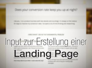 Input zur Erstellung einer Landing Page