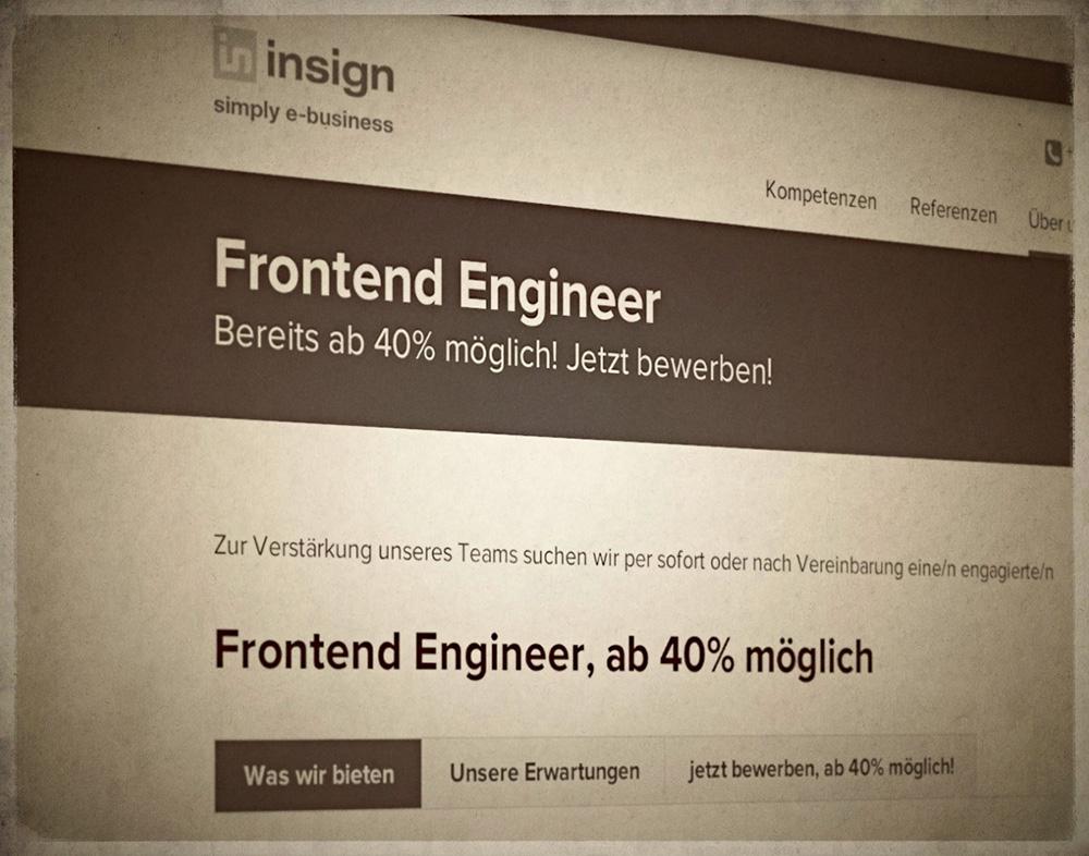 als Frontend Engineer bei der insign gmbh bereits ab 40% einsteigen