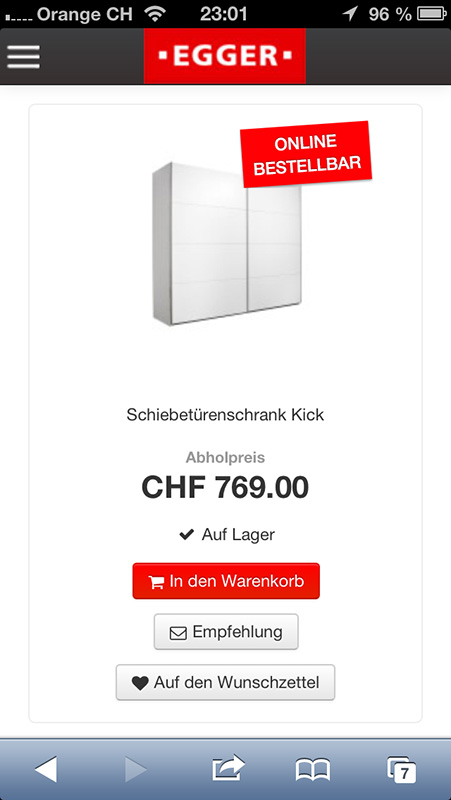 moebelegger.ch auf dem Smartphone (hier iOS)