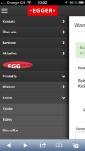 die Navigation von moebelegger.ch im responsive Design auf einem iPhone