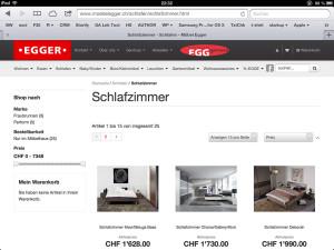 moebelegger.ch auf einem Tablet (hier iPad)