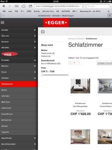Navigation von moebelegger.ch auf einem iPad (Tablet)