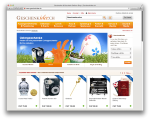 Webshop Anbieter insign - Beispiel B2C geschenkidee.ch