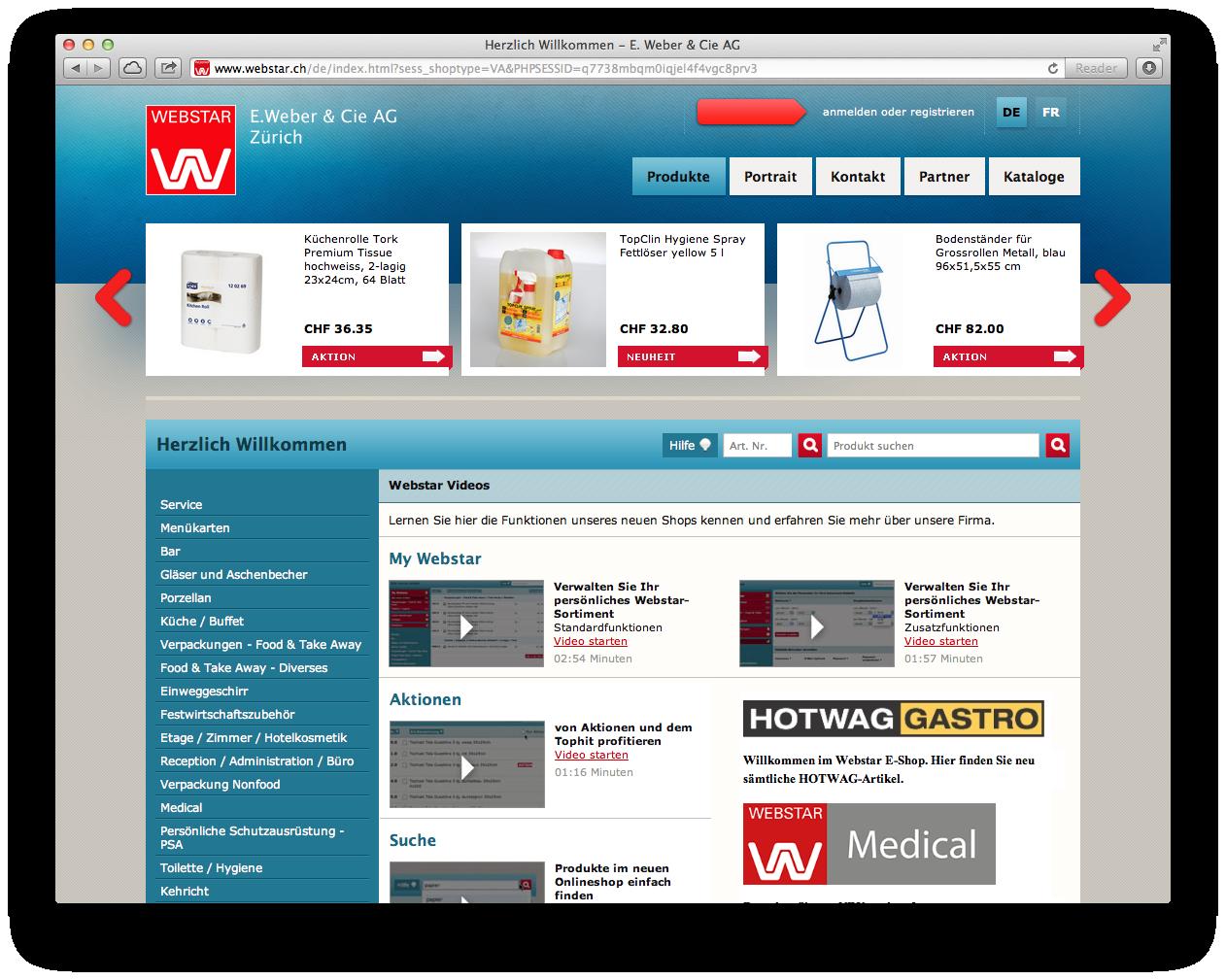Webshop Anbieter insign - Beispiel B2B webstar.ch