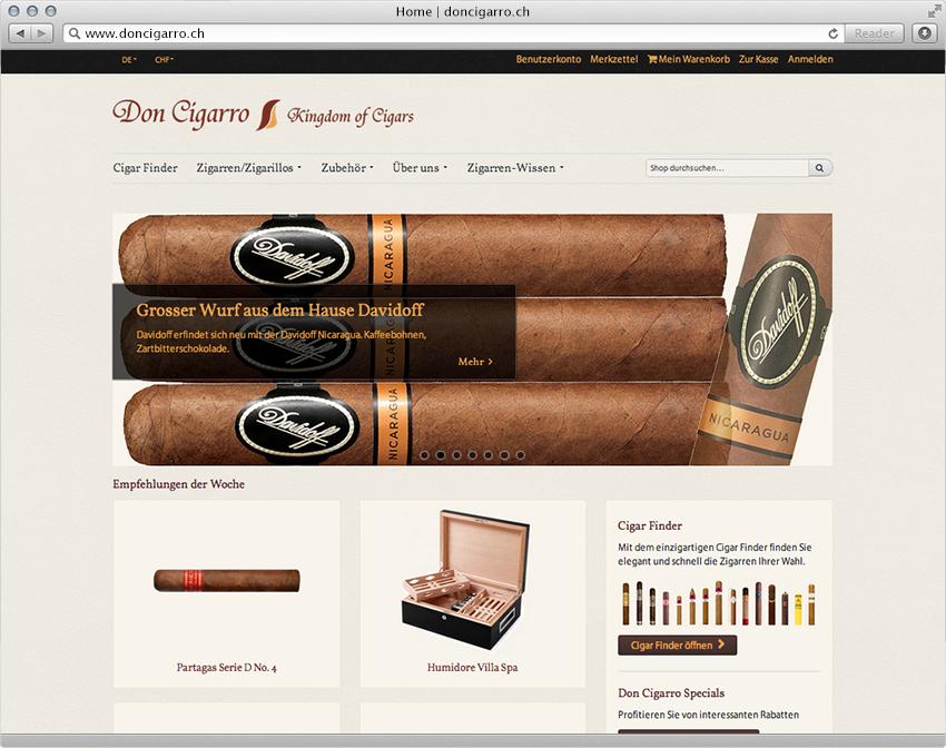 Zigarren Shop von DonCigarro, realisiert mit Magento von der insign gmbh