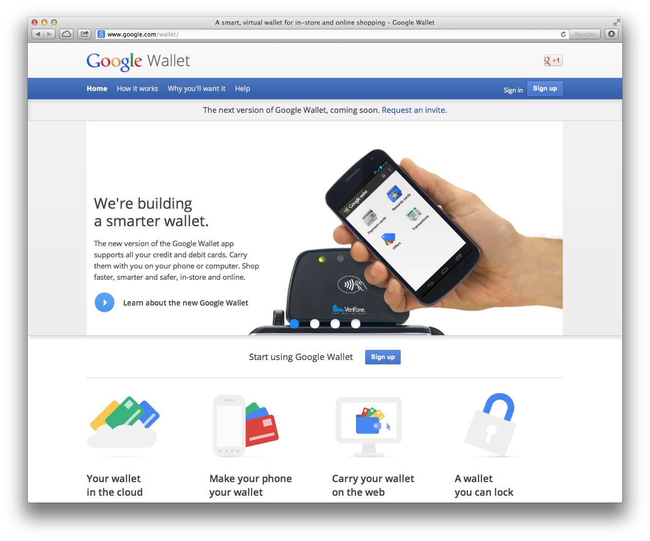 Einstiegsseite von Google zu Google Wallet