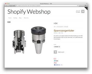 Beispiel Detailseite eines Shopify-Shops (Demo-Daten)