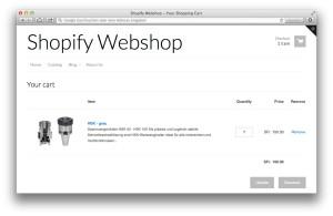 Shopify-Shop Warenkorb (Demo-Daten)