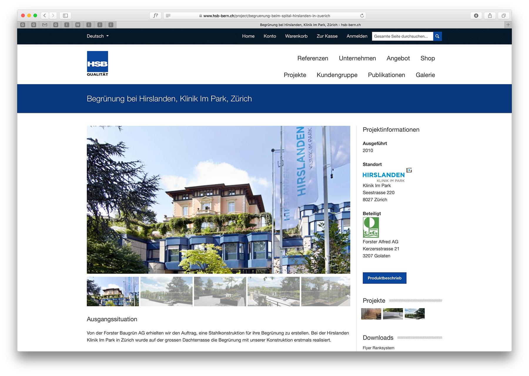 Screenshot aus der E-Commerce-Lösung für die Hans Schmid AG Bern (HSB)