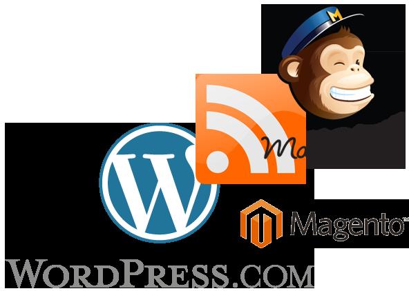 WordPress, Magento, MailChimp und RSS sind im Social Media Launcher integriert