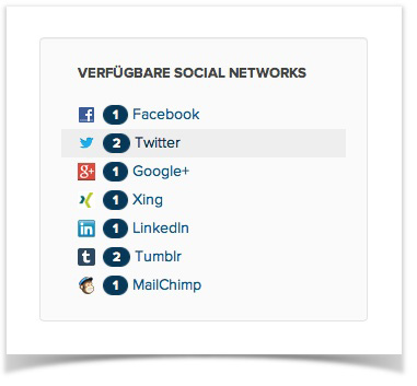 Social Media Networks zur Wahl im Social Media Launcher