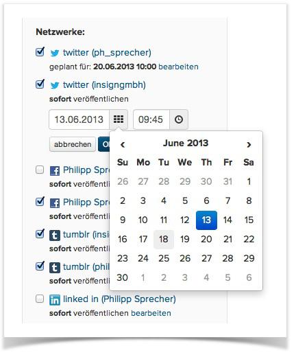 zeitgesteuerte Publikation von Inhalten im Social Media Launcher