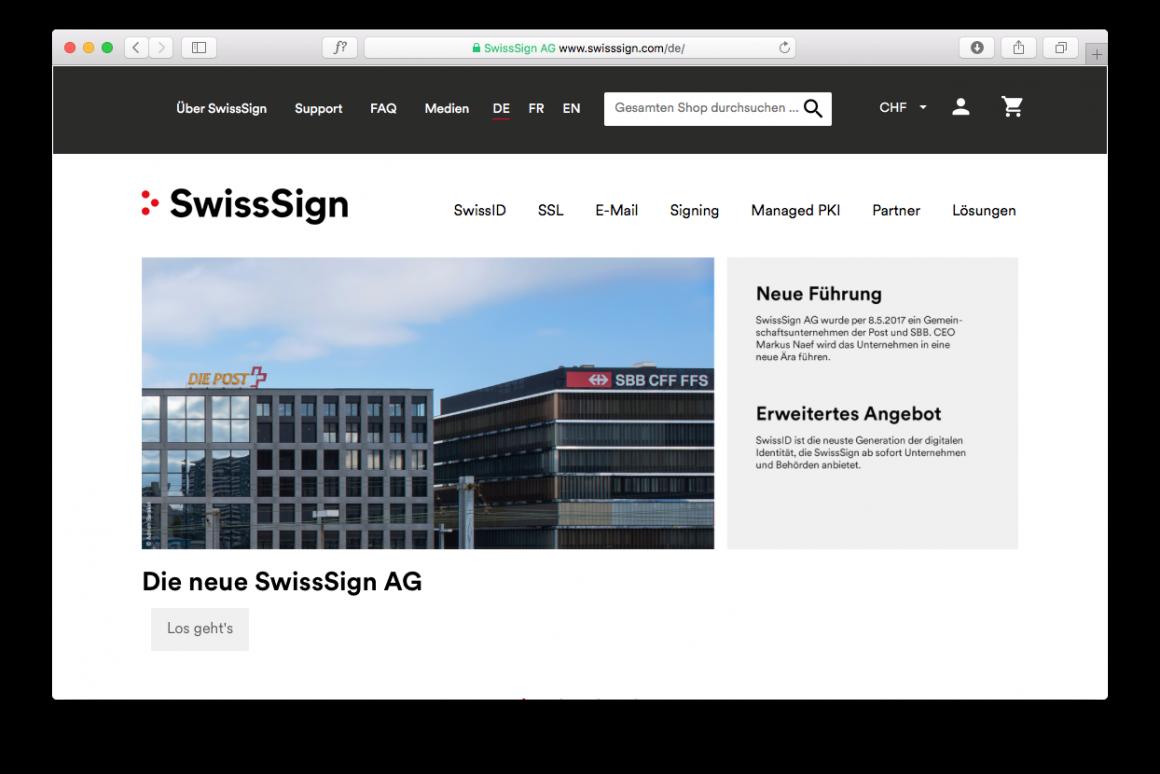 Website der neuen SwissSign AG, Anbieterin der neuen SwissID