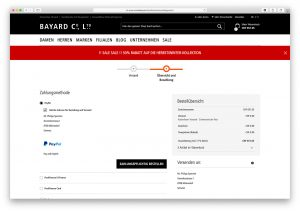 Screenshot des Mode-Bayard-Checkouts, ein Magento-Shop der insign gmbh